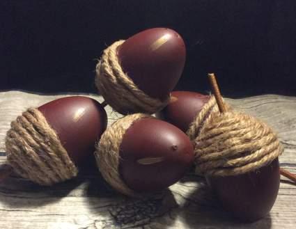 Large wooden faux acorns