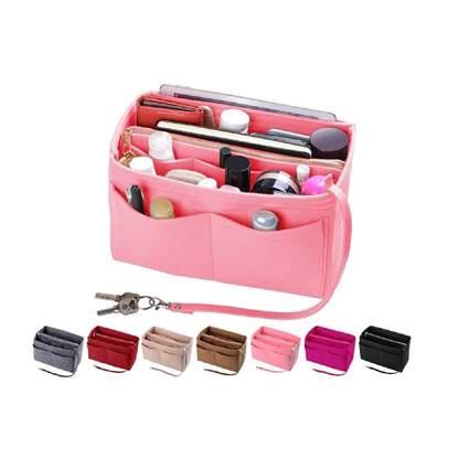 pink felt purse organizer