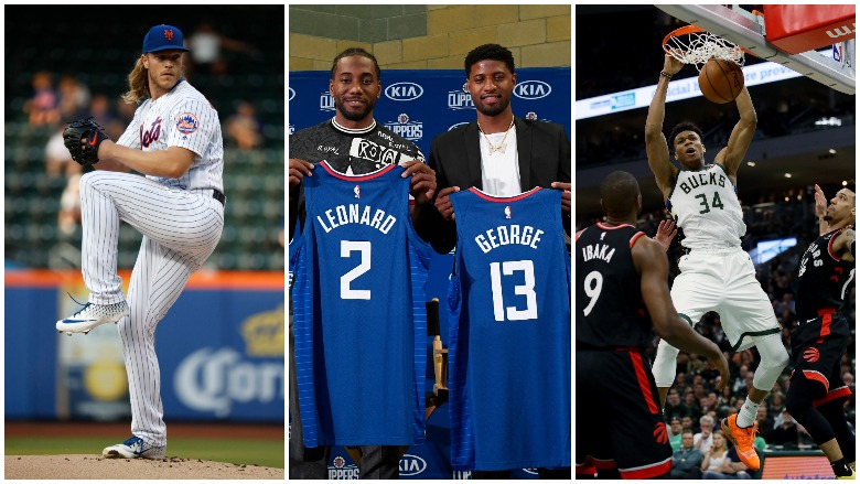 Topping Thursday's sports news, rumors are swirling about Noah Syndergaard's future with the Mets and the Bucks and Clippers top the NBA projected win totals that were released by oddsmakers.