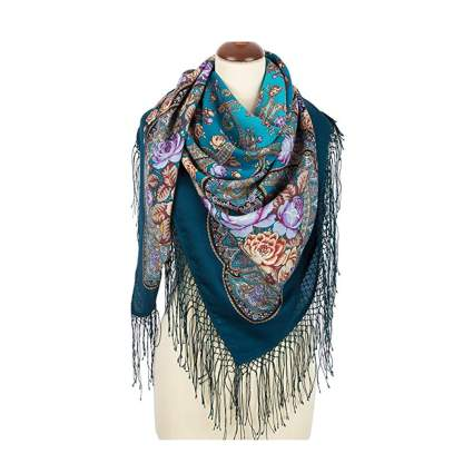teal and blue floral print pashmina scarf
