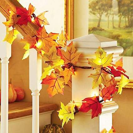 Red and yellow maple leave garland