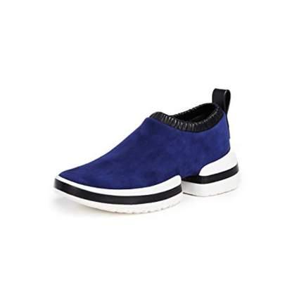 blue suede slip on sneakers