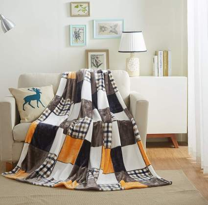 Patchwork blanket with fall colors