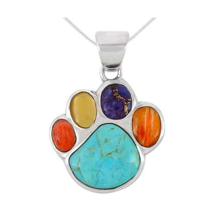 Turquoise network dog paw necklace gifts for dog lovers