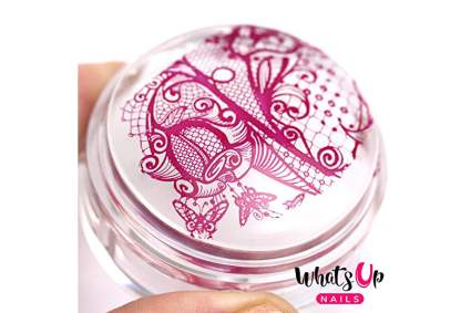 Clear stamping head with pink polish design
