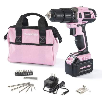 workpro pink cordless drill