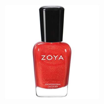 Orangey red nail polish