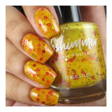 Gold nail polish with glitter