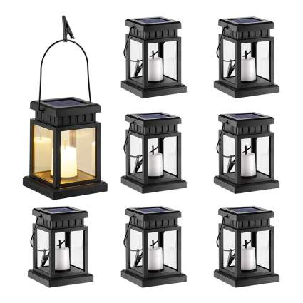 Eight lanterns with candles