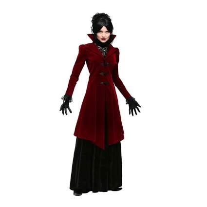 Woman in long red velvet coat