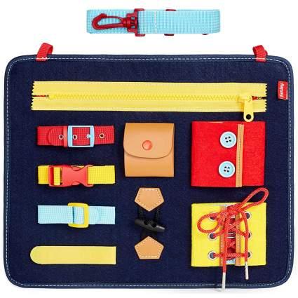 Toddler Busy Board - Montessori Basic Skills Activity Board