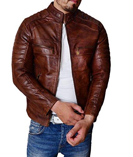Mens Real Leather Biker Jacket Vintage Dark Brown Zipped Funky Retro Casual