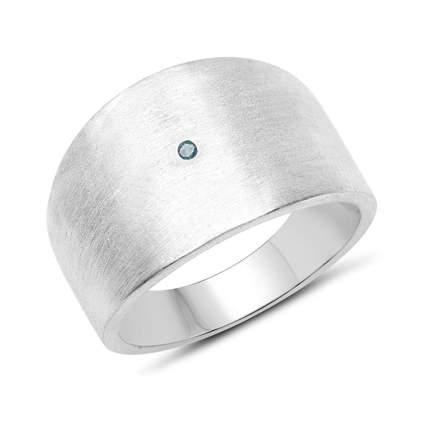 blue diamond and silver chunky band ring
