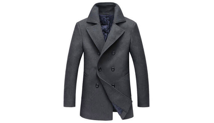 Mens Pea Coat Slim Fit.Men Autumn Winter Highneck Warm Fur Liner Lapel Leather Zipper Outwear Top Coat Brown