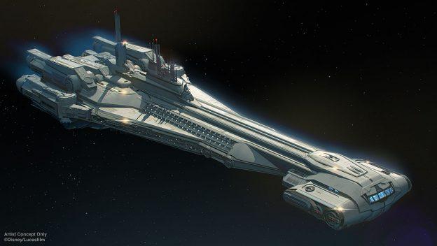 An Artist Concept of Disney's Galactic Cruiser Halcyon