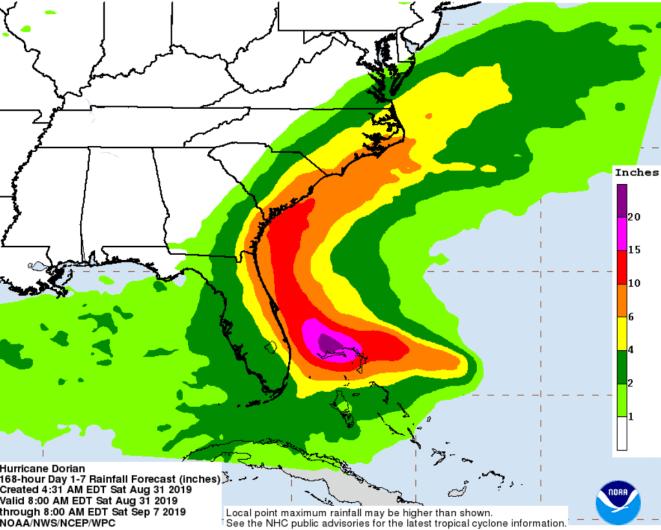 Hurricane Dorian projected rainfall
