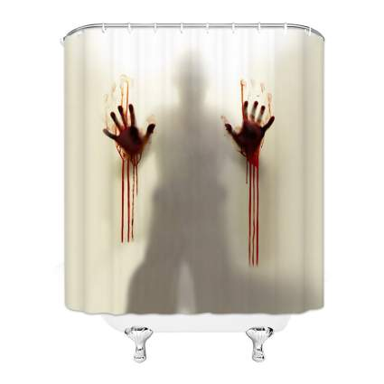 Man behind shower curtain with bloody hands
