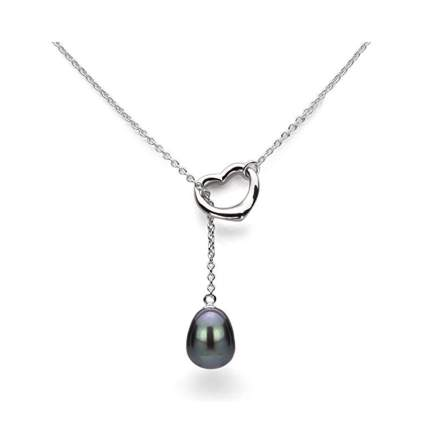 freshwater pearl and heart lariat necklace