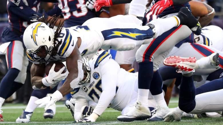 Melvin Gordon Diving Touchdown 2018 Patriots
