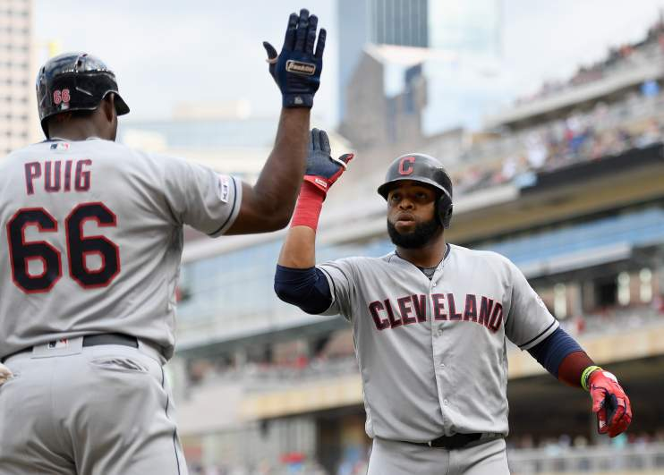 The Indians got by the Twins 7-3 in ten innings on Sunday to draw even with them at the top of the AL Central division.
