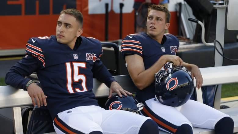 Kickers Eddy Pineiro and Elliott Fry of the Chicago Bears