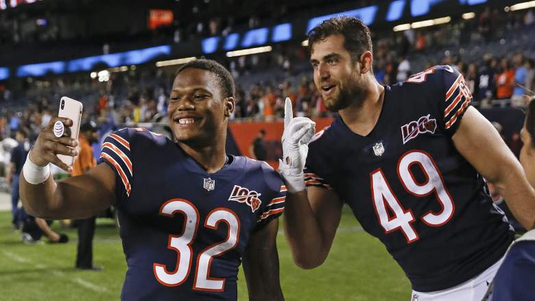Chicago Bears tight end Ian Bunting celebrates with David Montgomery