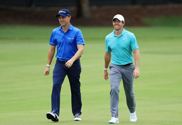 Justin Thomas and Rory McIlroy played in the same pairing on Friday at the TOUR Championship. They both are 12-under par and just one stroke off the lead.