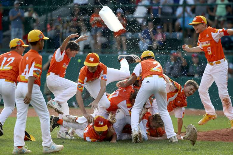 The Southwest Region team from River Ridge, Louisiana celebrate after getting the last out in the LLWS Championship game.