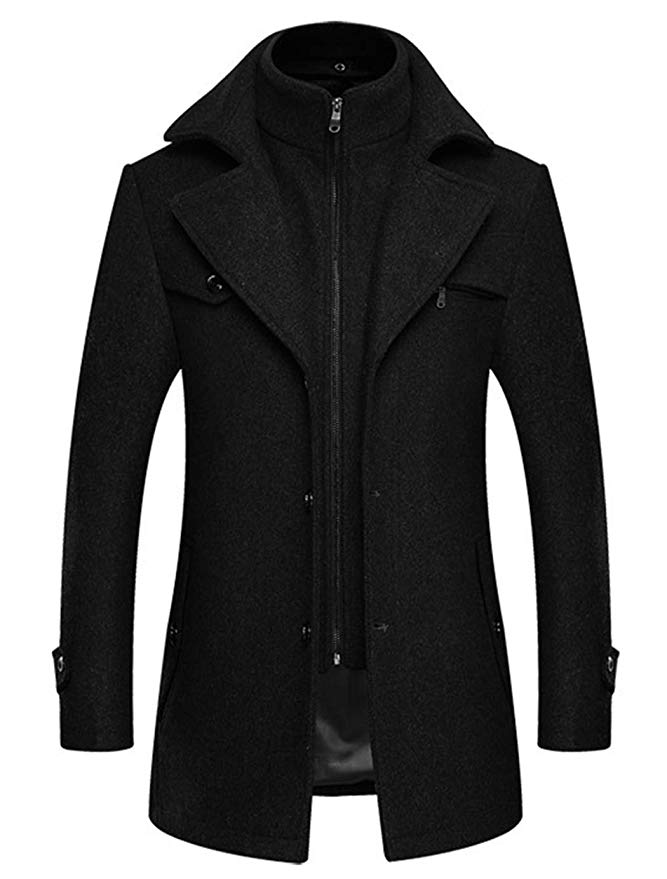 chouyatou Mens Formal Single Breasted Slim Fit Wool Blend Pea Coat with Detachable Knitted Collar