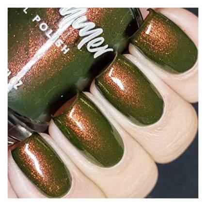 Green and gold nail polish