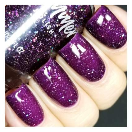 Dark purple glitter nail polish