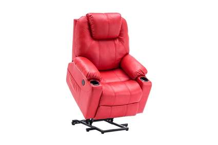 red lift recliner with massage and heat