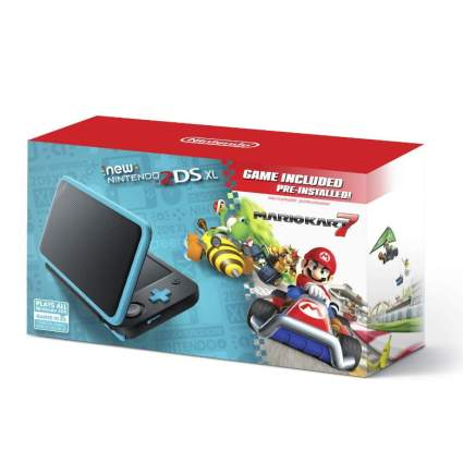 New Nintendo 2DS XL - Black + Turquoise With Mario Kart 7 Pre-installed - Nintendo 2DS