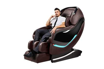 brown zero gravity massage recliner