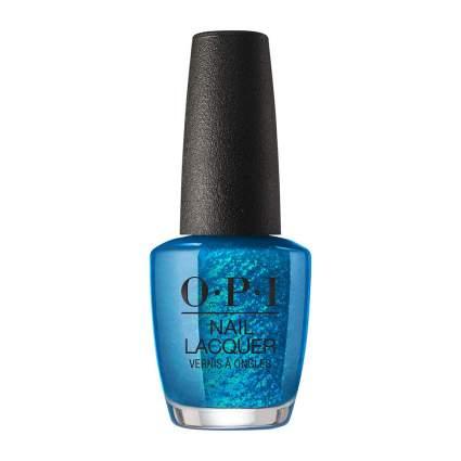Blue bottle of OPI nail polish