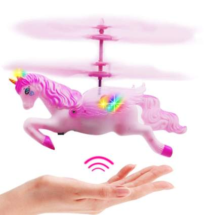 Pink Mini Flying Helicopter Unicorn Toy
