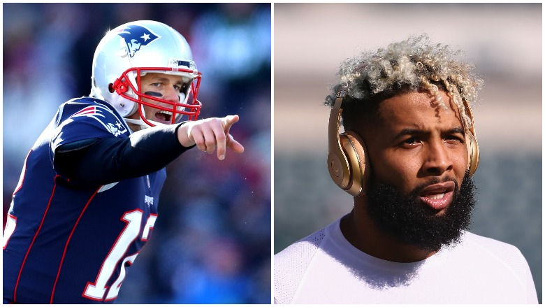 Tom Brady of the New England Patriots and Odell Beckham Jr. of the Cleveland Browns