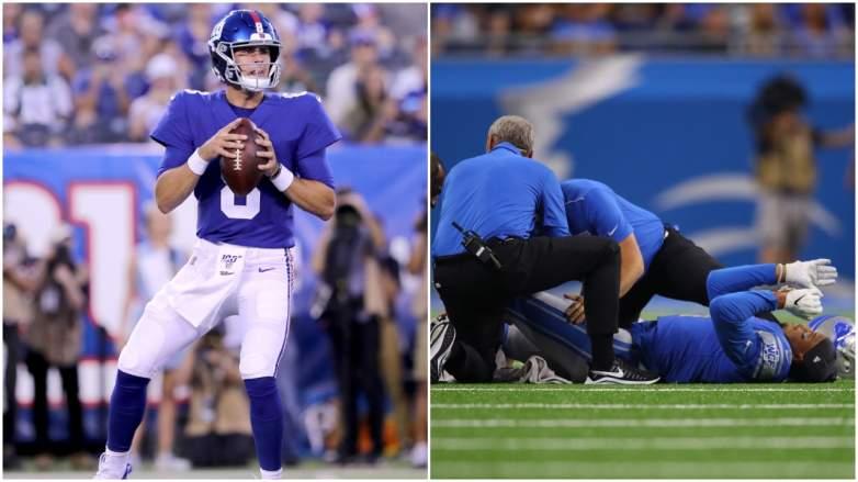 Daniel Jones has stellar first drive for Giants and Lions' Jermaine Kearse breaks leg on the first full night of the NFL preseason.