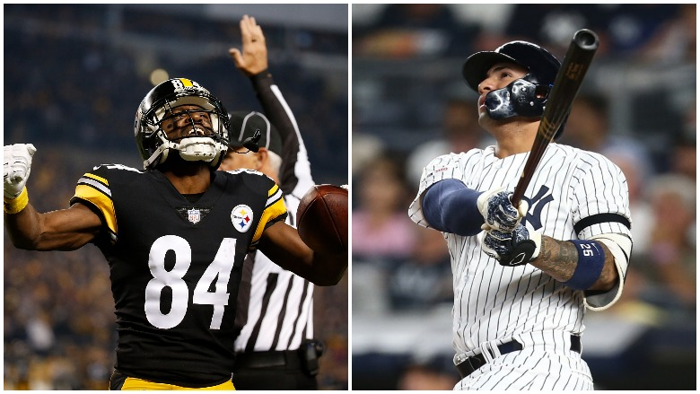 The Raiders' Antonio Brown lost a grievance to wear his old helmet and the Yankees' Gleyber Torres breaks a divisional era home run record.