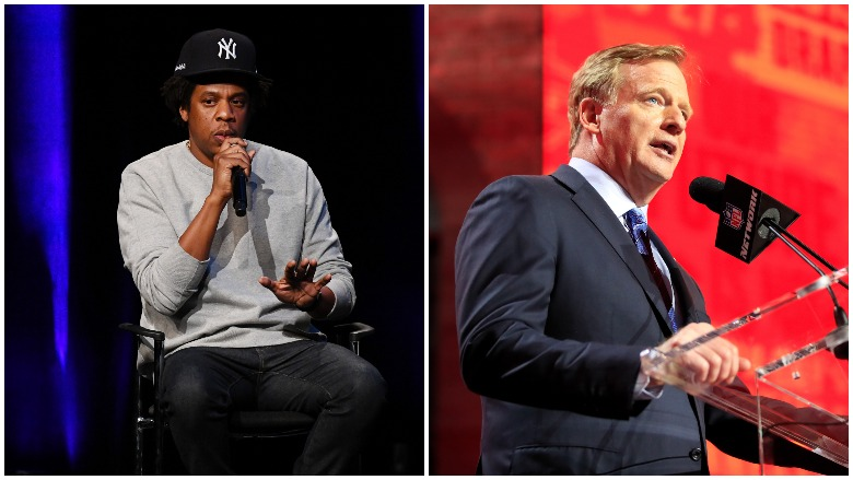 Jay-Z and Roger Goodell were together on Wednesday to officially announce the partnership between the NFL and Roc Nation.