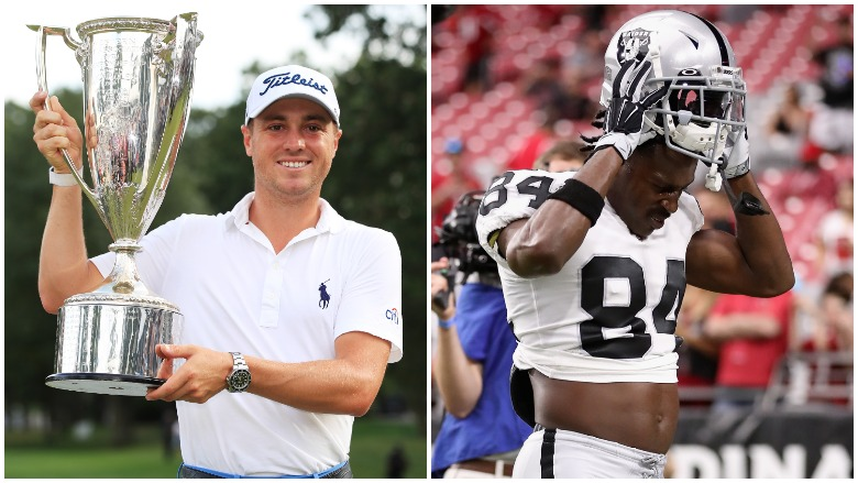 Justin Thomas won the BMW Championship and Antonio Brown left training camp once again on Sunday.