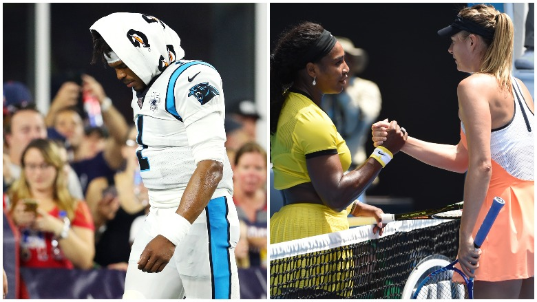 Cam Newton sprained his foot against the Patriots and Serena Williams and Maria Sharapova are scheduled to face each other in the first round at the U.S. Open.