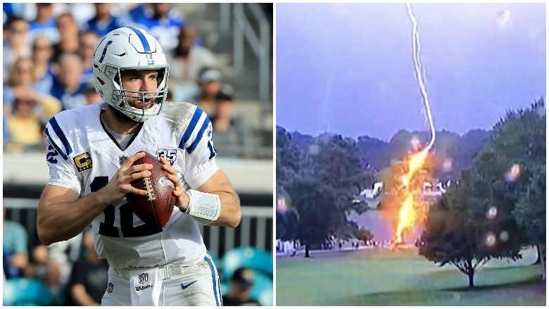 Andrew Luck announced his retirement and a lightning strike injured multiple fans at the TOUR Championship.