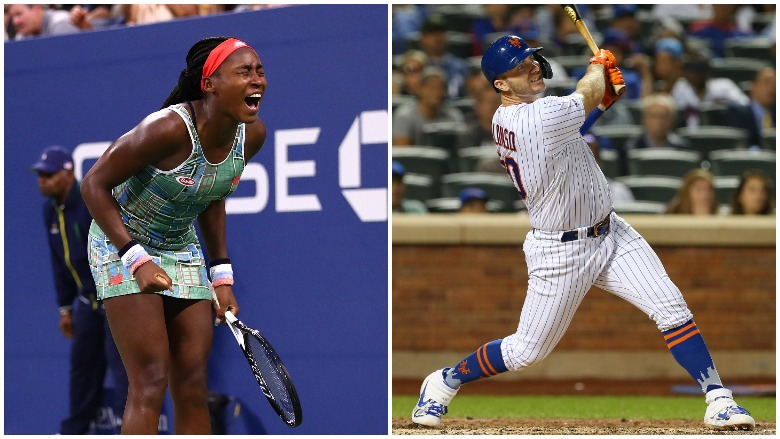 Coco Gauff won her U.S. Open main draw debut and Pete Alonso set the Mets' franchise record for home runs in a season.