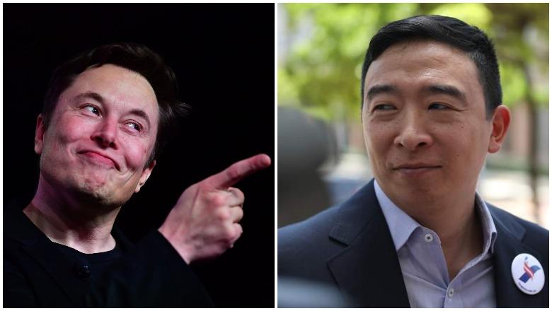 Elon Musk and Andrew Yang