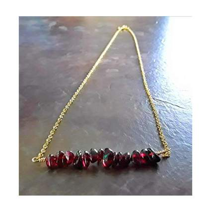 gold and raw garnet bar necklace