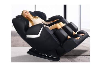 black faux leather massage recliner