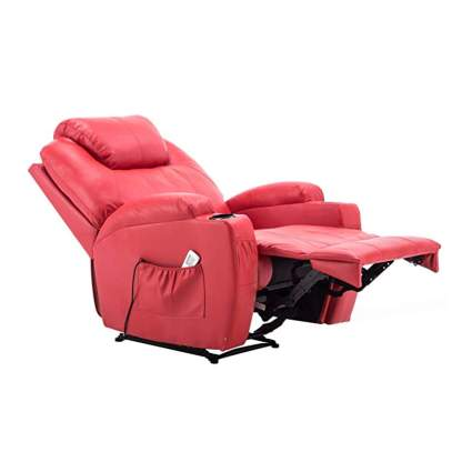 red faux leather massage recliner