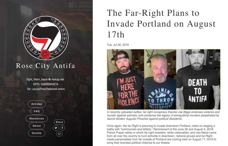 Rose City Antifa webpage