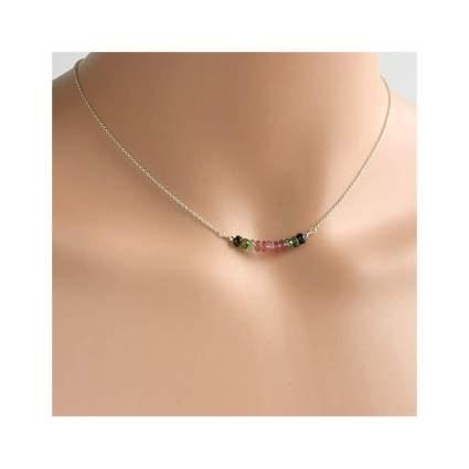 silver and watermelon tourmaline choker necklace
